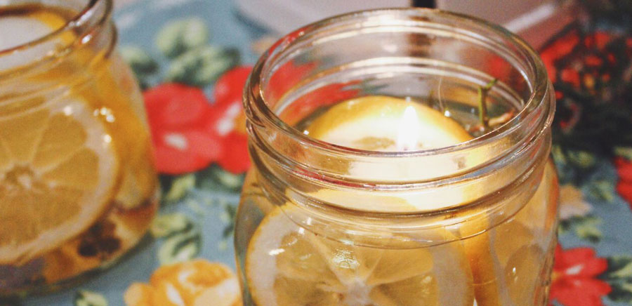 lemon diy candle close up