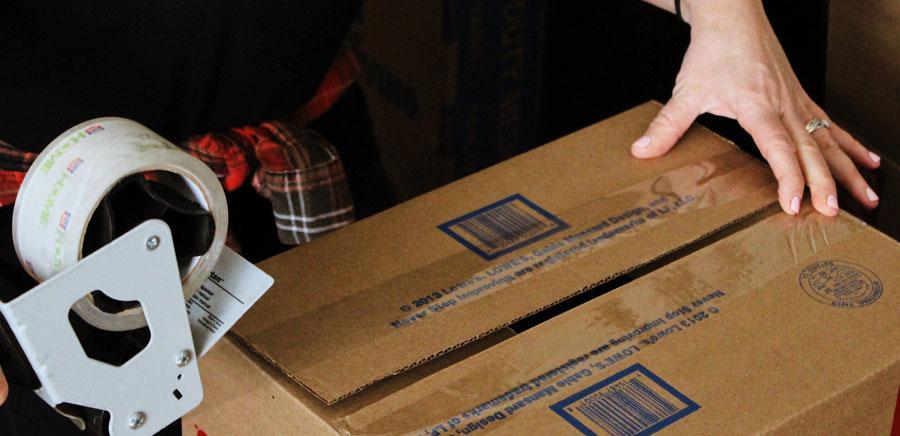 taking risks packing tape box