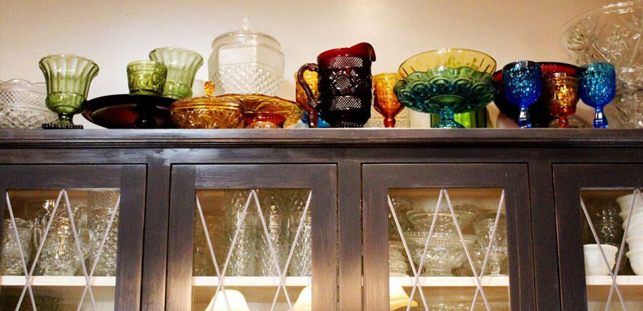 vintage glass depression glasses cabinet
